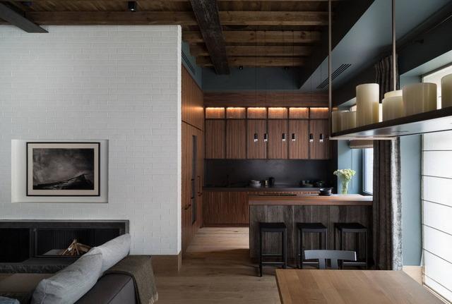 дизайн кухни гостиной в стиле минимализм в квартире