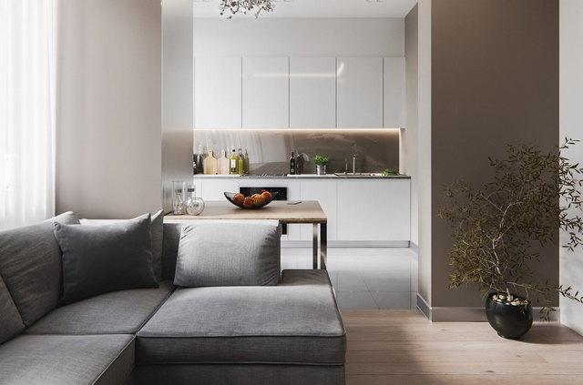 кухни студии в стиле минимализм в квартирах
