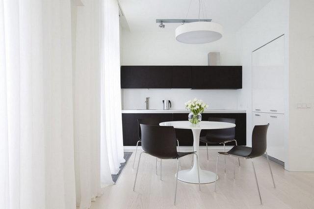 кухня гостиная в стиле минимализм шторы