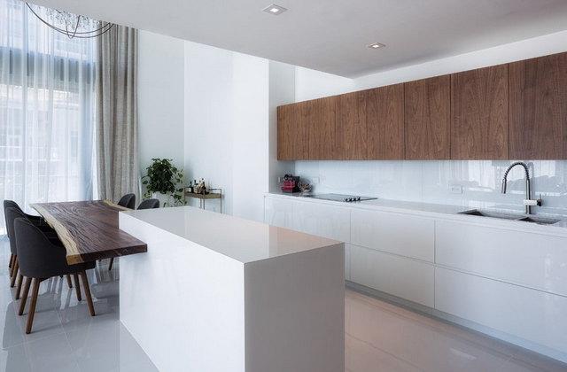 кухня в стиле минимализм фото шторы