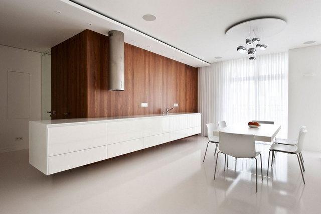 кухня в стиле минимализм шторы фото