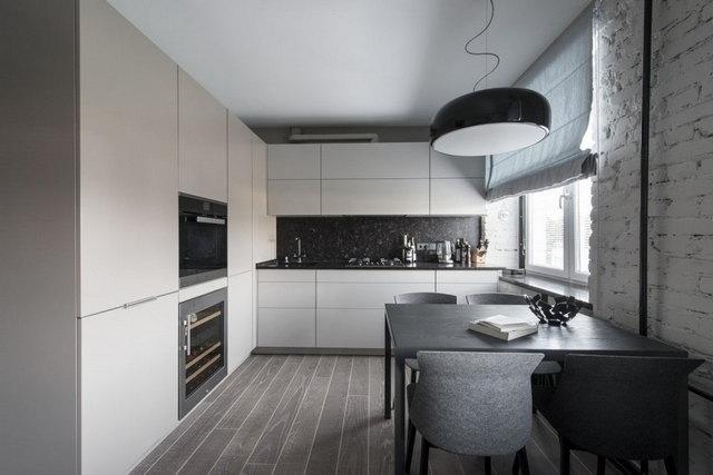 кухня в стиле минимализм шторы пример