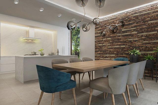 кухня в стиле минимализм со столовой