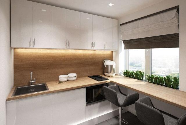 маленькая кухня в стиле минимализм фото пример