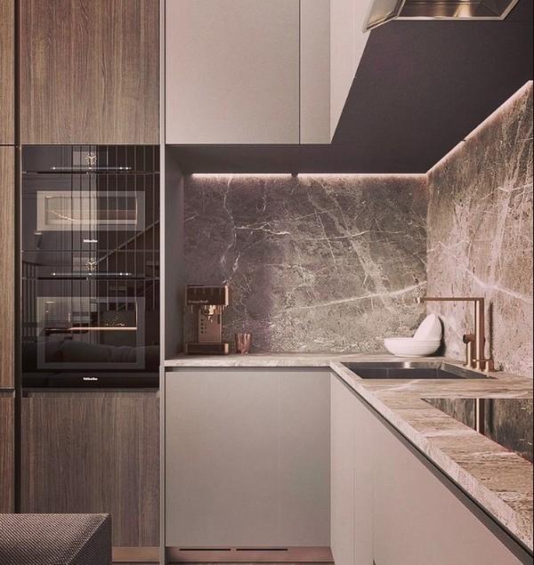 маленькая кухня в стиле минимализм в гостинке