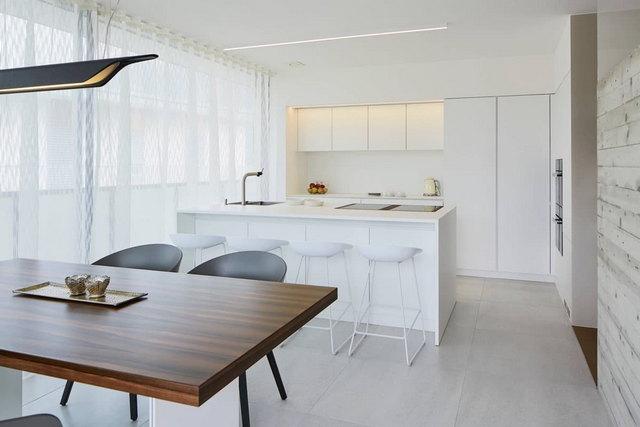 светлые кухни в стиле минимализм фото