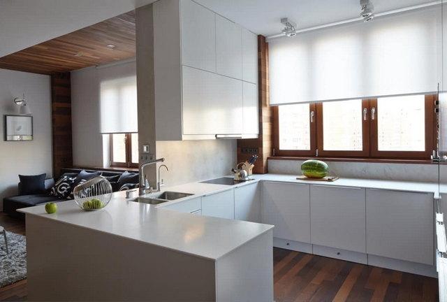 светлые кухни в стиле минимализм