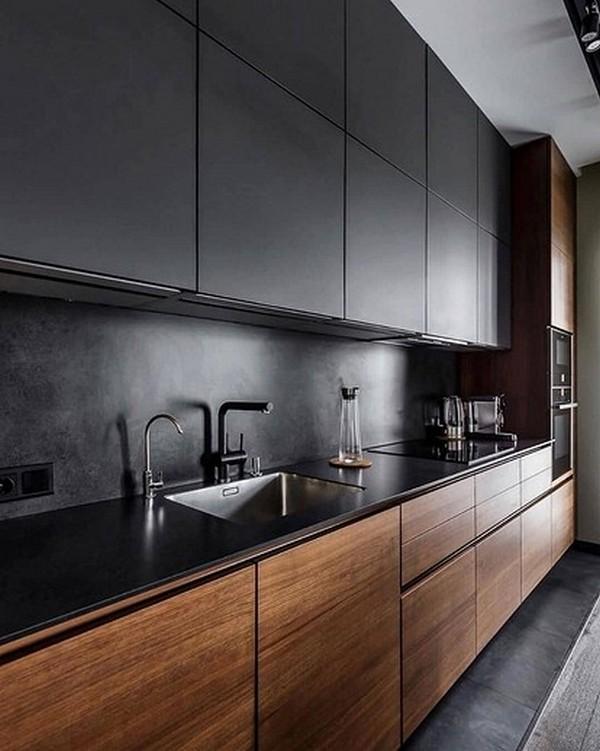 тёмные кухни в стиле минимализм в квартирах