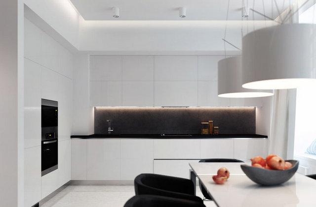 угловая красивая кухня в стиле минимализм