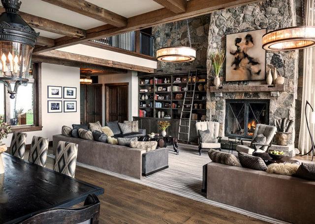 дом шале скандинавский интерьер гостиная