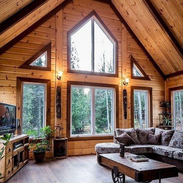 интерьер дома в стиле шале а-фрейм