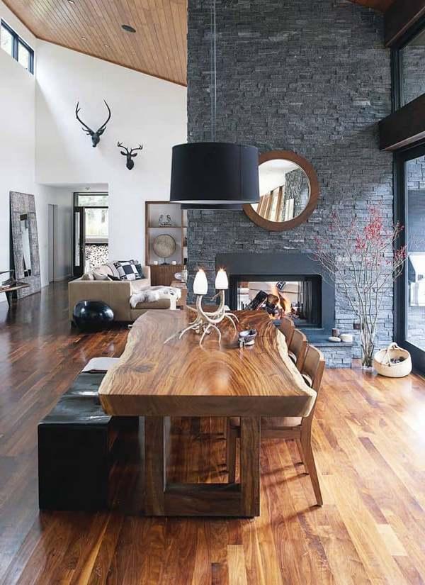 интерьер дома в стиле шале кухня столовая