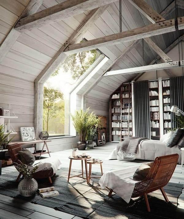 интерьер дома в стиле шале мансарда