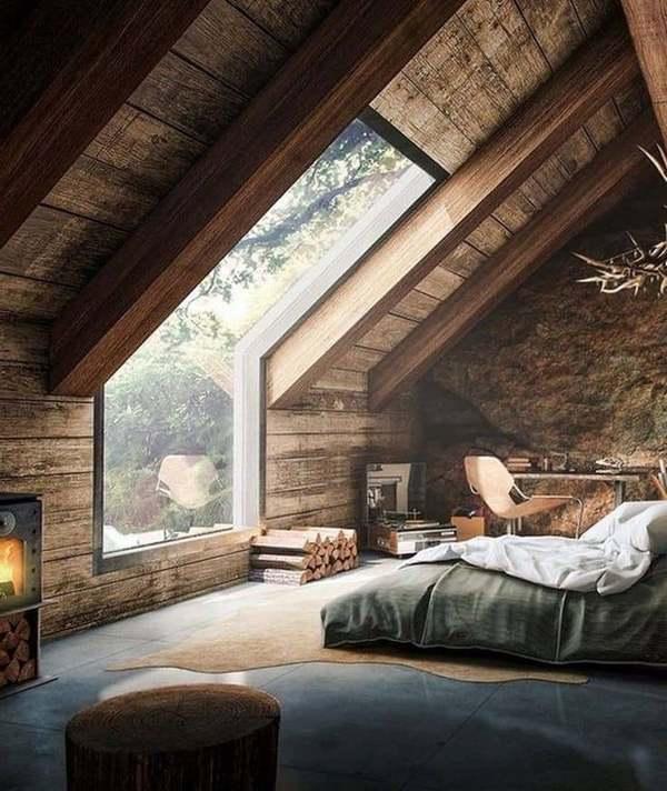интерьер дома в стиле шале мансардное окно