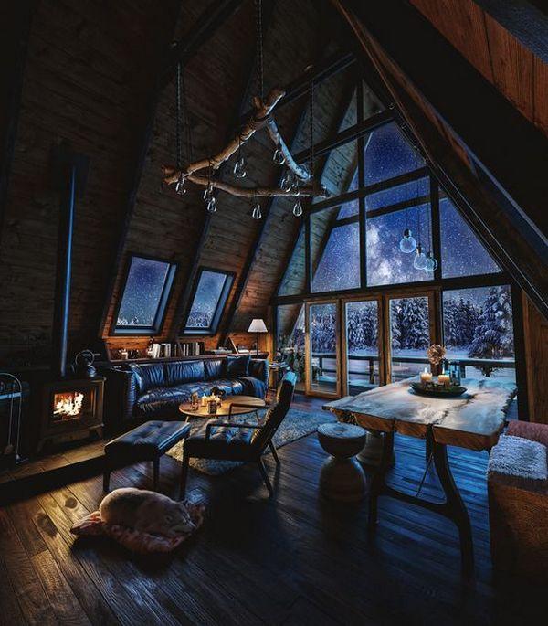 интерьер дома в стиле шале ночной вид