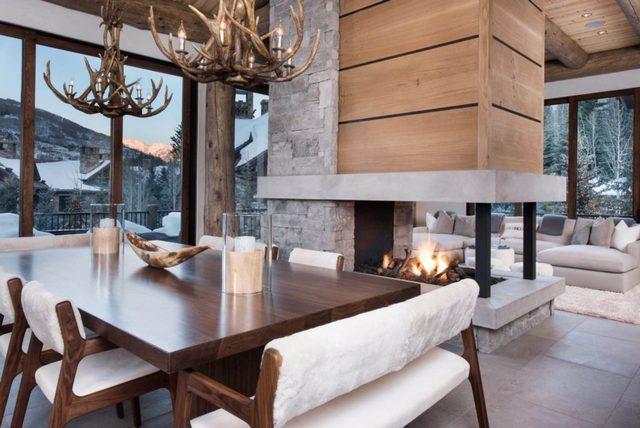 интерьер дома в стиле шале светлый дизайн