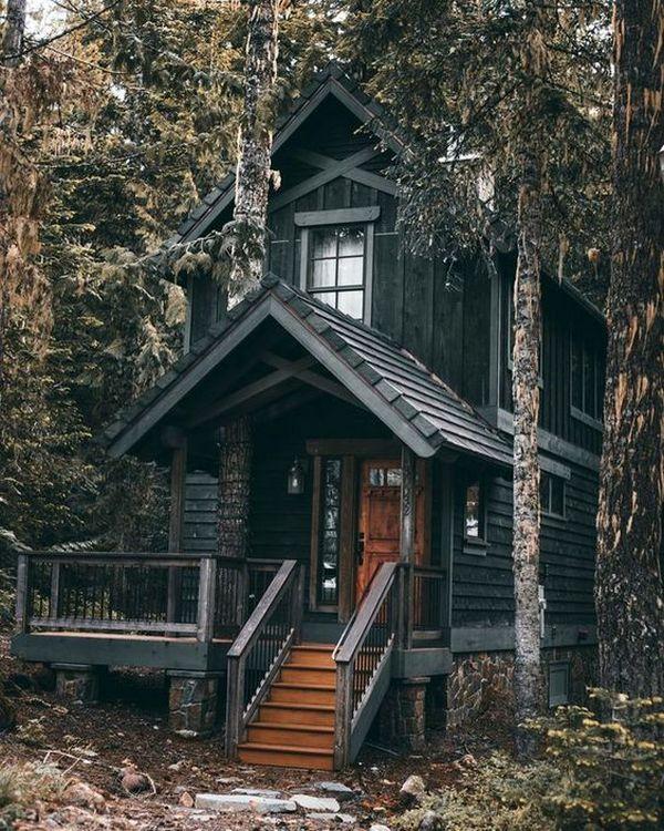 маленькие дома в стиле шале двухэтажные из обожжённой доски