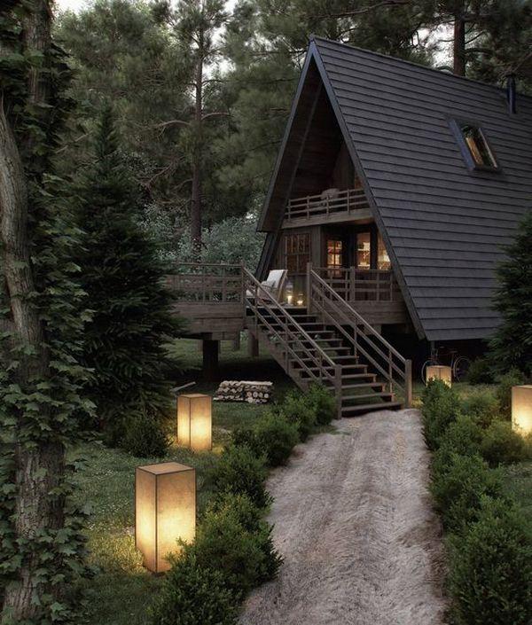 маленькие дома в стиле шале двухэтажные из обожжённой доски фото