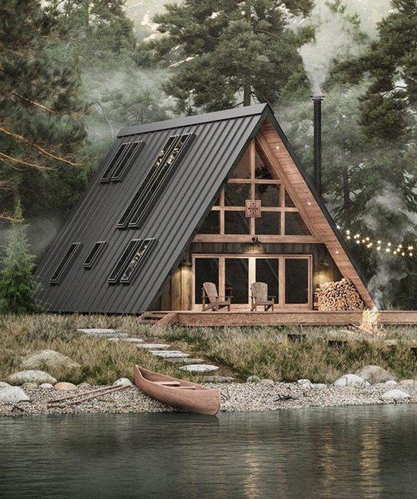 загородный дом в стиле шале у реки