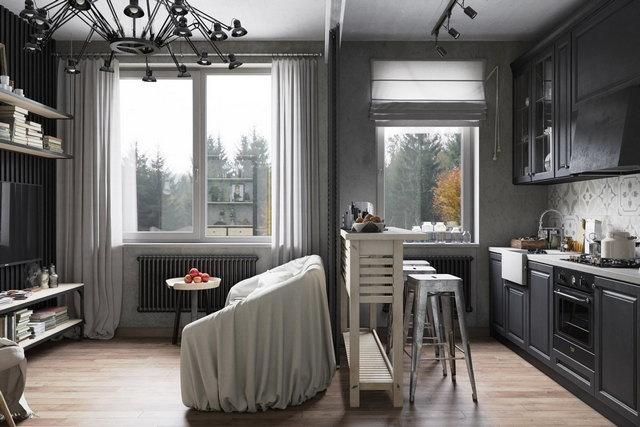 кухня гостиная в серых тонах