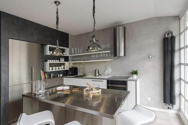 кухня в бело-серых тонах фото