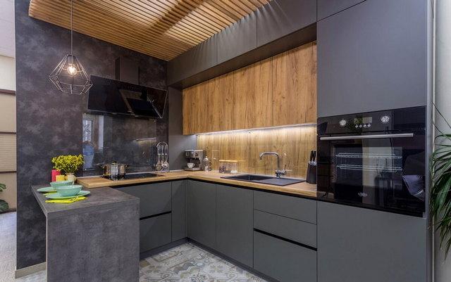 кухня в бежево-серых тонах