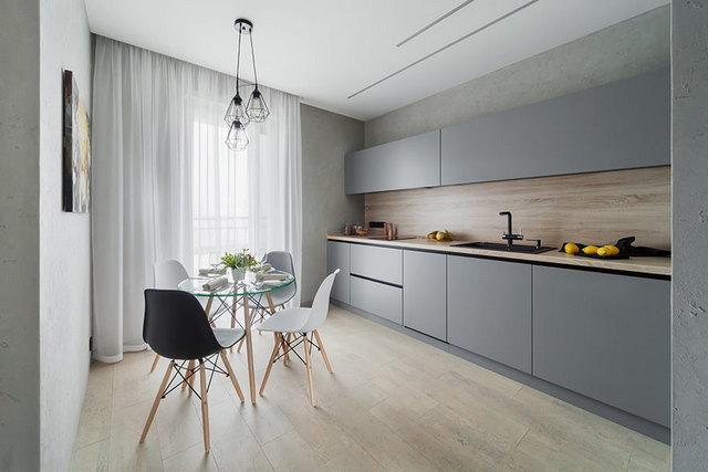 кухня в серых тонах дизайн минимализм