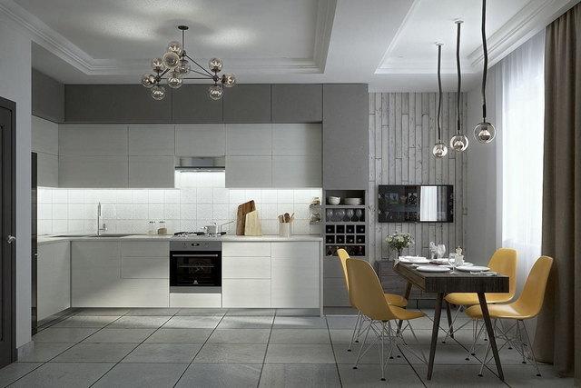 современные кухни в серых тонах фото