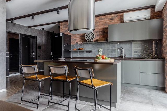современные кухни в серых тонах на фото