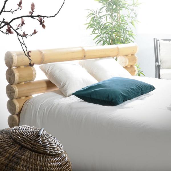 бамбук в интерьере спальни изголовье